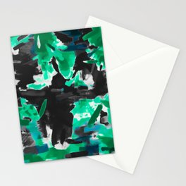 psychedelic vintage camouflage painting texture abstract in green and black Stationery Cards