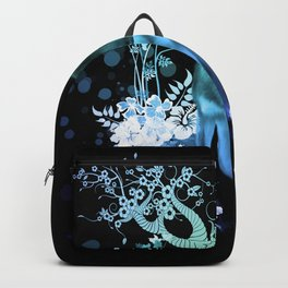 Amazing wolf with flowers, blue colors Backpack