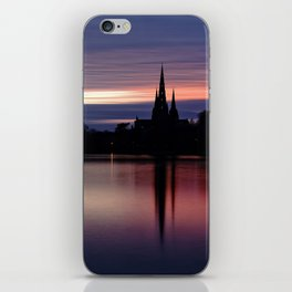 Pink Sky Over The Lichfield Cathedral iPhone Skin