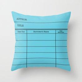 LiBRARY BOOK CARD (sky) Throw Pillow
