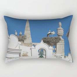 storks build nests on the church in the old town of faro, portugal, europe Rectangular Pillow