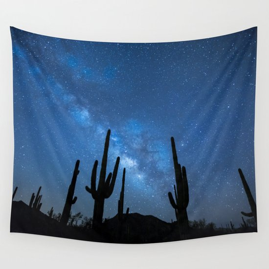 Cacti in the Desert before the Stars  Wall Tapestry