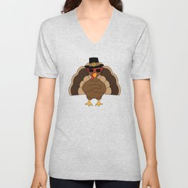 Cool Turkey with sunglasses Happy Thanksgiving Unisex V-Neck