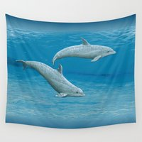 scuba Wall Tapestries featuring Sandscape Dolphins ~ Acrylic by Amber Marine