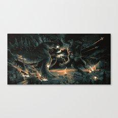 Godzilla vs Kingkong Blue Orange  Canvas Print