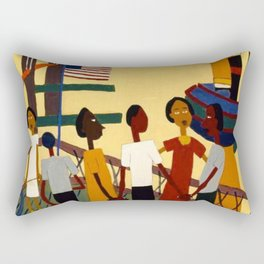 African American Masterpiece 'Ferry' NYC by William Johnson Rectangular Pillow
