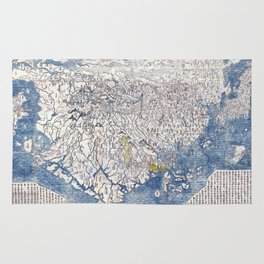 Japanese Buddhist Map of the World, 1710 - Color Woodblock Rug