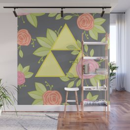 Garden of Power, Wisdom, and Courage Pattern in Grey Wall Mural