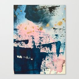 Candyland: a vibrant, colorful abstract piece in blue teal pink and gold by Alyssa Hamilton Art Canvas Print