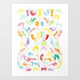 Neon Kittens Art Print