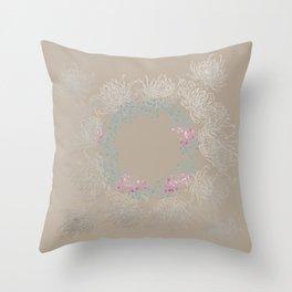 Baja Dunes Luminosity Floral Wreath Throw Pillow
