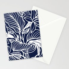 Indigo Navy Blue Floral Stationery Cards