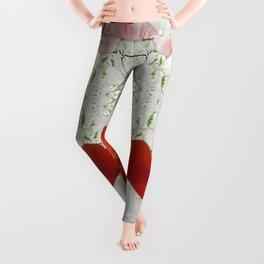 Passion for red_white symmetry Leggings