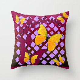 Modern Deco Style Yellow Butterflies Burgundy-Purple Art Throw Pillow
