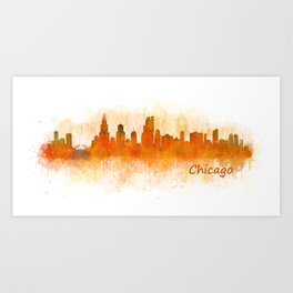 Chicago City Skyline Hq v3 Art Print