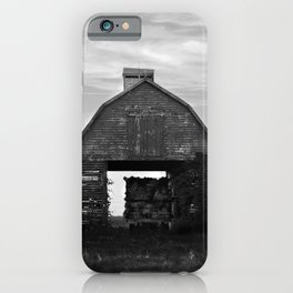 Country Corn Crib Black and White Farm Photography iPhone Case