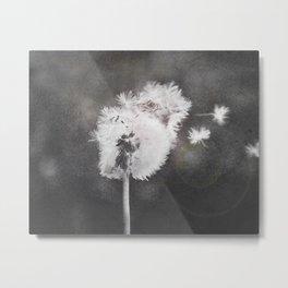 Dandelion in the Wind (black white) Metal Print