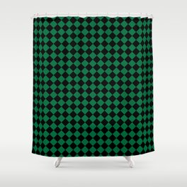 Black and Cadmium Green Diamonds Shower Curtain