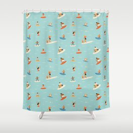 Surfing kids Shower Curtain