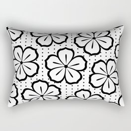 Modern Black and White Flowers and Polka Dots Rectangular Pillow