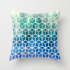 The Geometry of Bees and Boxes - cobalt blue, emerald green, mint & white Throw Pillow