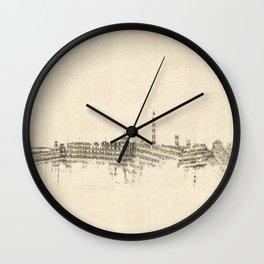 Washington DC Skyline Sheet Music Cityscape Wall Clock