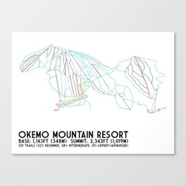 Okemo Mountain Resort, VT - Minimalist Trail Art Canvas Print