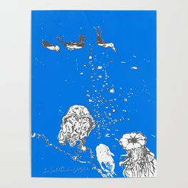Two Tailed Duck and Jellyfish Royal Brilliant Blue Poster