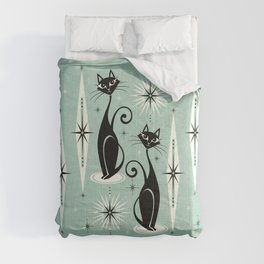 Mid Century Meow Retro Atomic Cats Mint Comforters