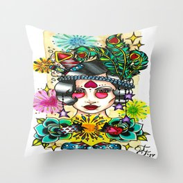 Fourth of July Flapper Throw Pillow