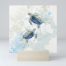 Swimming Together 2 - Sea Turtle  Mini Art Print
