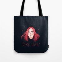 black widow Tote Bags featuring Black Widow by Galaxyspeaking