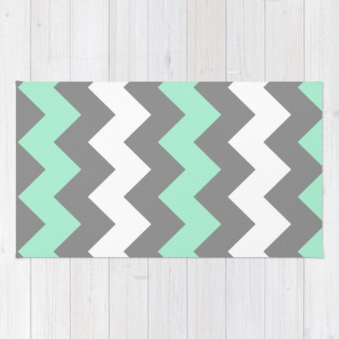 Mint White Grey Chevron Rug
