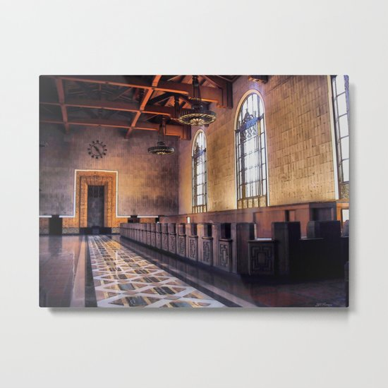 Los Angeles Union Station. Historic Ticket Counter. © J&S Montague. Metal Print