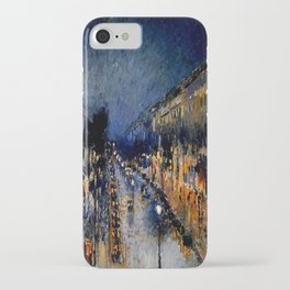The Boulevard Montmartre At Night : Camille Pissarro iPhone Case