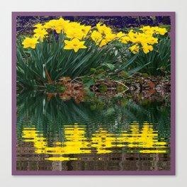PUCE & YELLOW DAFFODILS WATER REFLECTION PATTERN Canvas Print