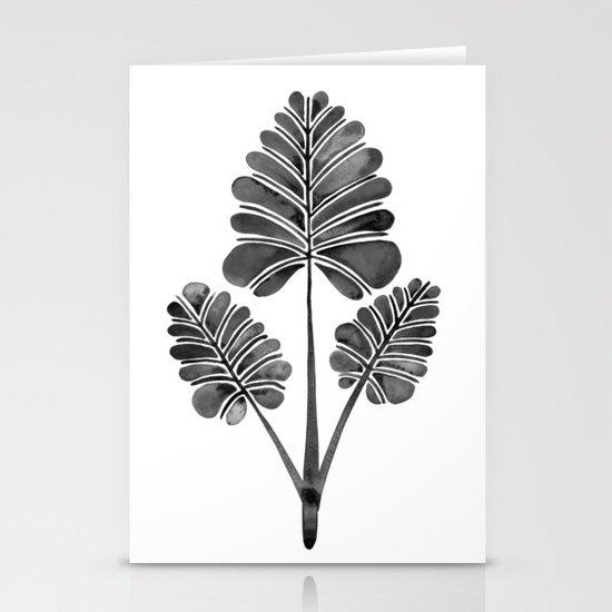 Tropical Palm Leaf Trifecta – Black Palette Stationery Cards