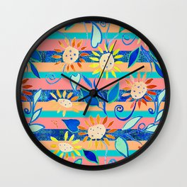 zakiaz cobalt flower stripe Wall Clock
