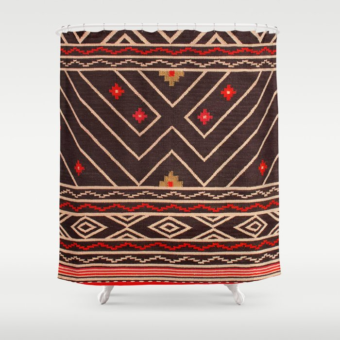 V18 Brown Red Traditional Moroccan Carpet Design Shower Curtain