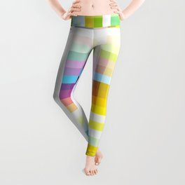 Myling - Colorful Decorative Abstract Art Stripes Pattern Leggings