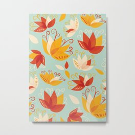 Whimsical Abstract Colorful Lily Flower Pattern Metal Print