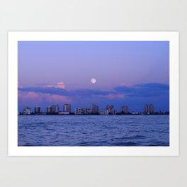 Moon over Fort Myers Art Print