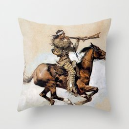 "Frederic Remington ""Buffalo Hunter Spitting Bullets"" Western Art Throw Pillow"