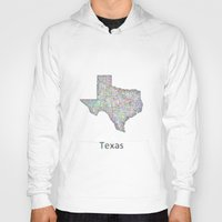 texas Hoodies featuring Texas map by David Zydd