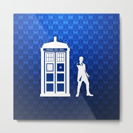 Tardis And The Doctor Metal Print