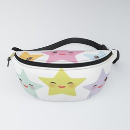 Kawaii stars, face with eyes, pink green blue purple yellow Fanny Pack