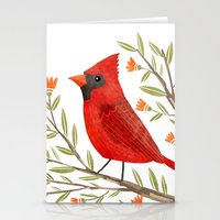 cardinal Stationery Cards featuring Cardinal by Stephanie Fizer Coleman