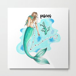 Pisces Mermaid Metal Print