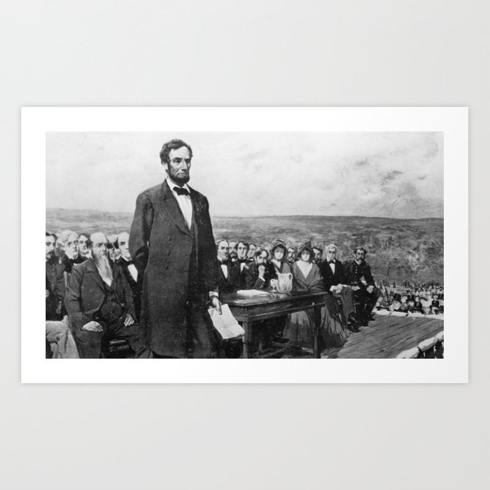picture about Gettysburg Address Printable named Abraham Lincoln Gettysburg Deal with Artwork Print via historystuff
