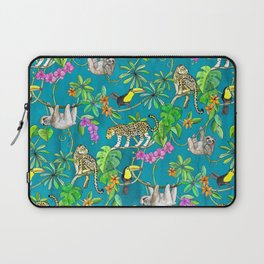 Rainforest Friends - watercolor animals on textured teal Laptop Sleeve
